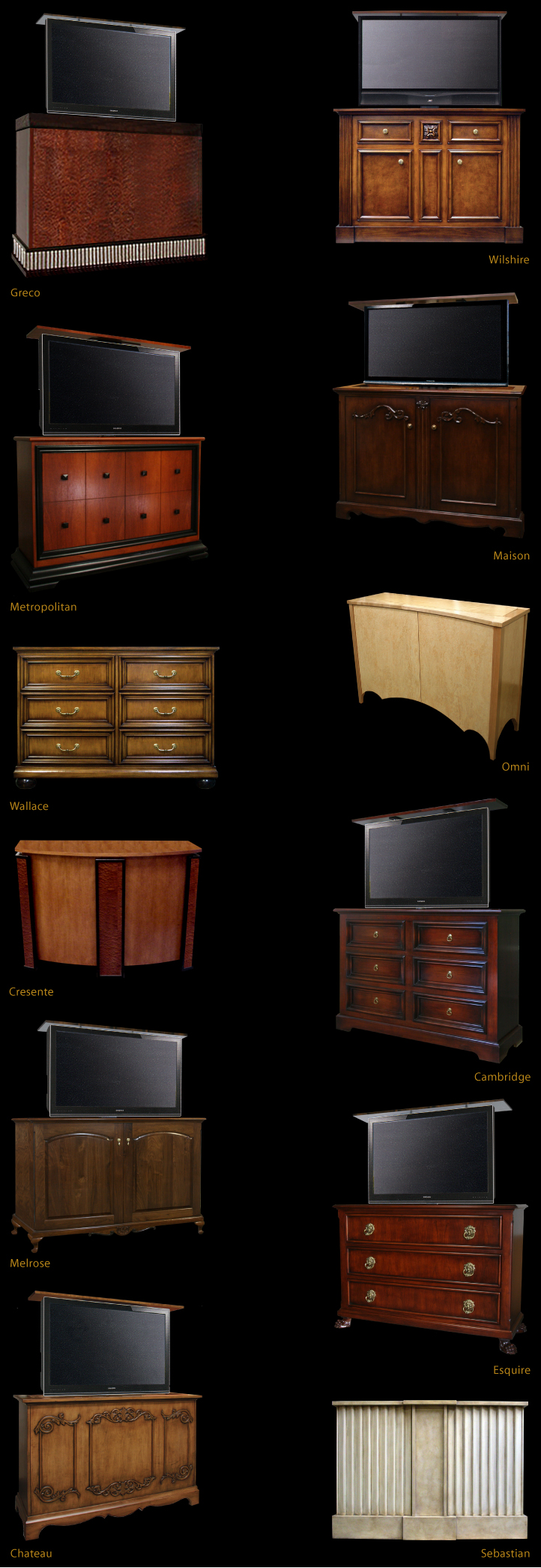 Neo-clasic TV Lift Cabinets, French TV Lift Cabinets, ContemporaryTV Lift Cabinets, 