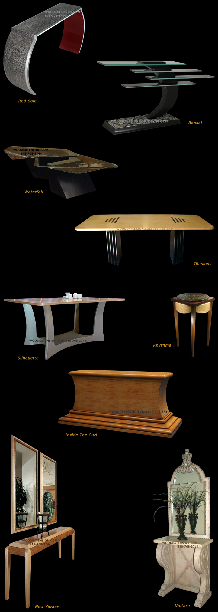 artful furniture, dining console tables, custom dining tables in los angeles, contemporary dining tables, pedestal dining tables, dining room tables, custom made dining tables, breakfast table, hall tables, foyer tables, entry tables